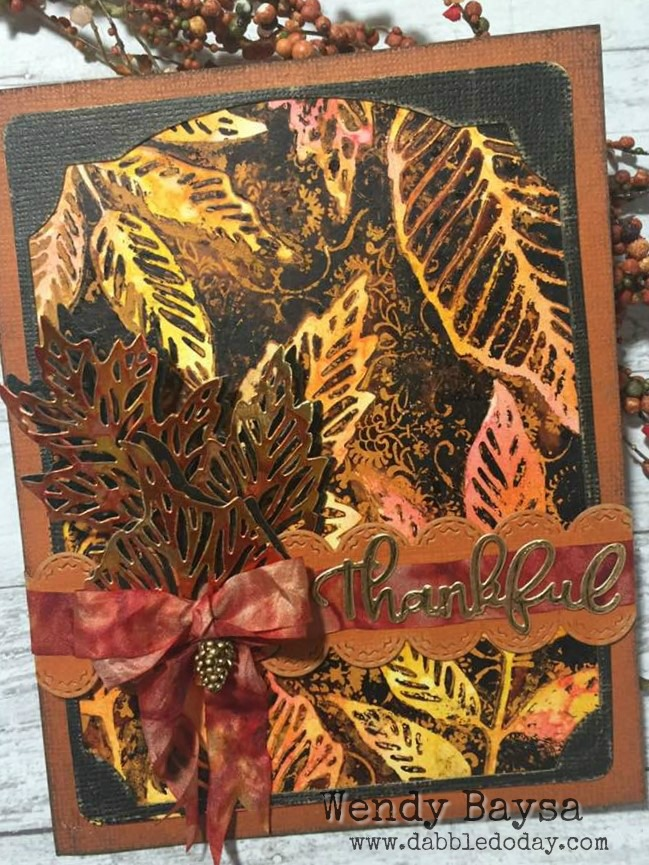 Skeleton Leaves Gel Print Card (3)WM