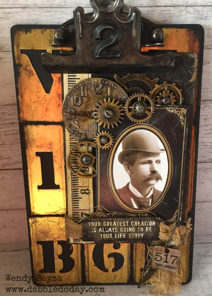 creativation2019 tim holtz clipboard 'oh those alph tiles' by wendy baysa (4) wm
