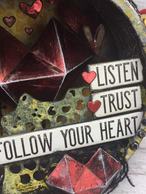 'Listen,Trust,Follow' Altered Assemblage Clock by Wendy Baysa (12)