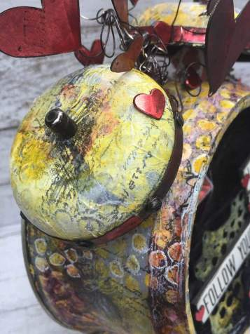 'Listen,Trust,Follow' Altered Assemblage Clock by Wendy Baysa (4)