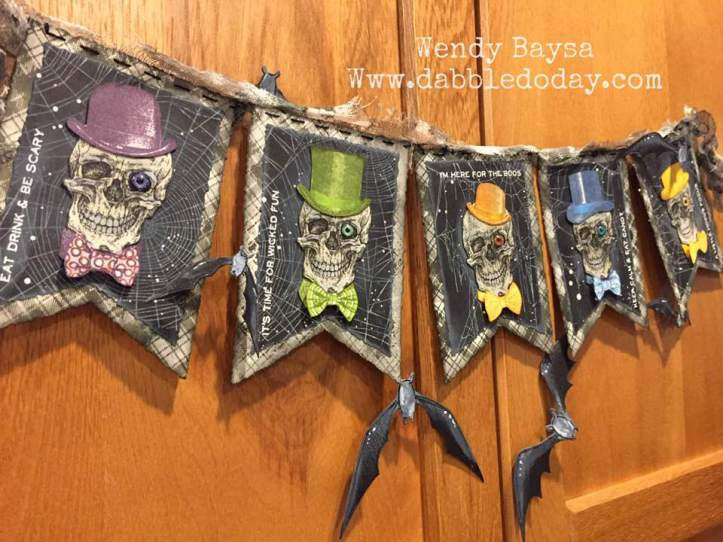 'Let's Party' Halloween Banner by Wendy Baysa using Tim Holtz Life of the Party Stamp Set (5)